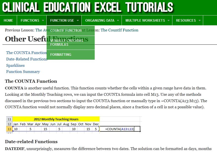 Excel Tutorial Website
